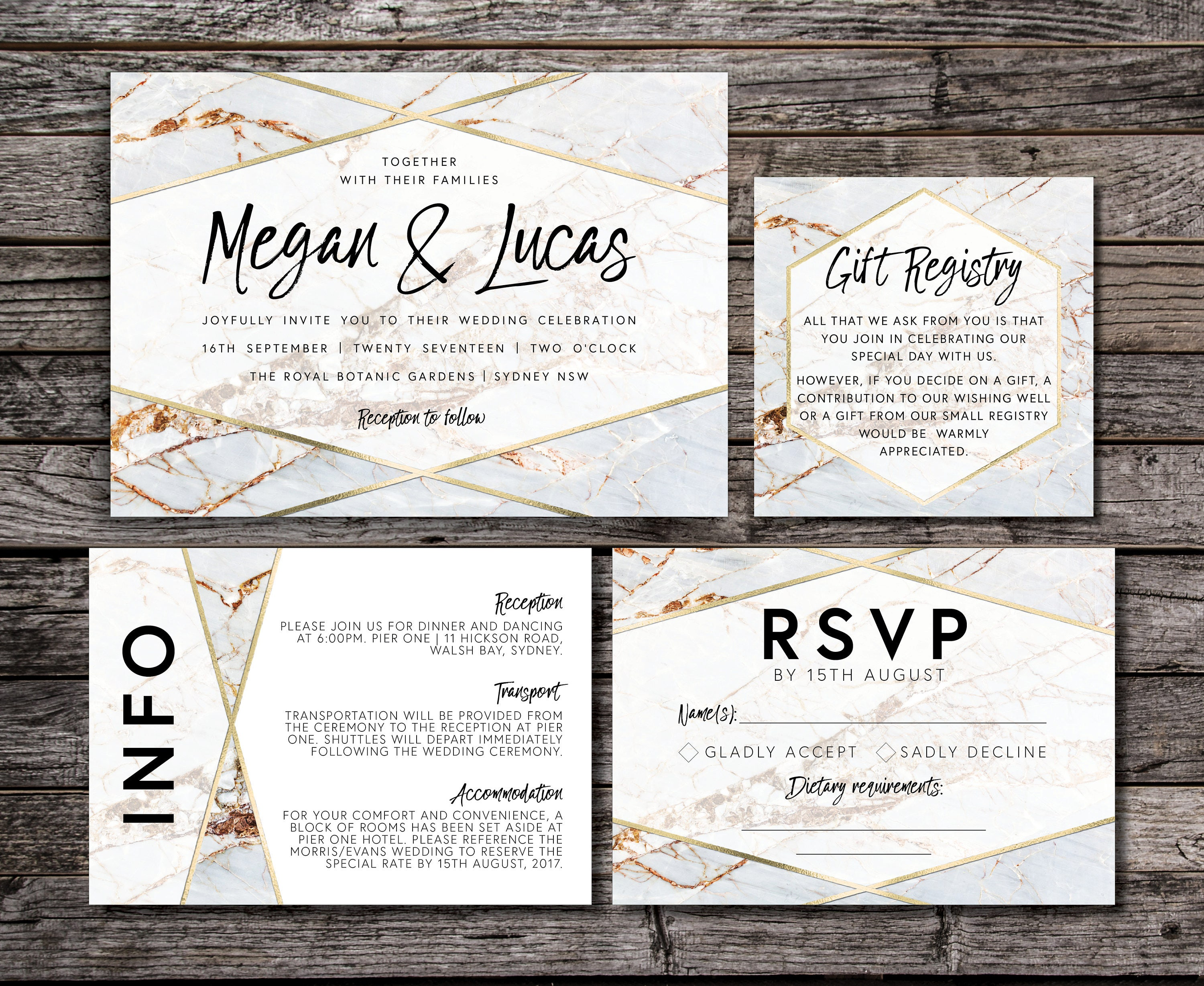Geometric Marble Wedding Invitation Suite Luxe Gold White