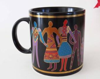 "Vintage LAUREL BURCH ""Familia del Mundo"" Mug / Vintage Ceramic fro 1988 / Japan / 4"" Tall / Great  Kwanza-Christmas or Birthday Gift ! !"
