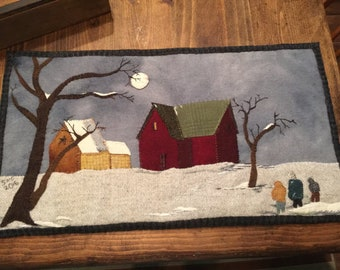 Home Before Dark, Wool Applique Pattern