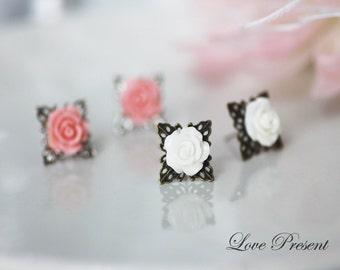 Bridesmaids Earrings - Cutie Petite Rose Stud Earrings Post with Filigree - Choose your color