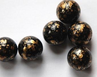 Vintage Metallic Black and Gold Splatter Beads 12mm Germany bds257A