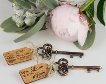 100 x Rustic Key Bottle Openers with Wooden Engraved Gift Tags