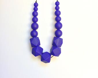Silicone Teething Necklace, Nursing Necklace, Chew Jewelry, Bite Beads, Navy