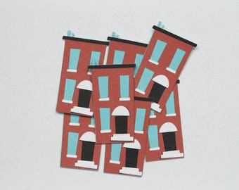 Building Die Cut-Brownstone Die Cut-Buildings-Brownstones-Building Confetti-Apartment Die Cut-New York Brownstone-Brick Building
