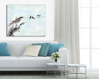 Canvas Print of  Birds On A Wire, Large Drawing, Black and White Art, Fine Art Painting, Original Art