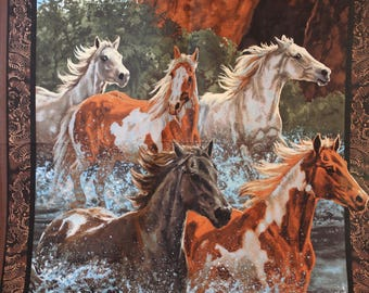 Five horses running in water.  A 36 by 42.5 inches fabric panel.