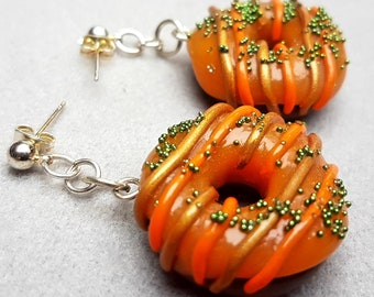 caramel donut/handmade item/design/jewelry gift/trendy/unique jewelry/fimo/impressive/cute