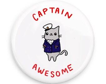 Cat Pin Nautical Cat Captain Awesome Sailor Cat Pinback Button Cute Pin Back Button Pin Badge Pin Collection Captain Cat