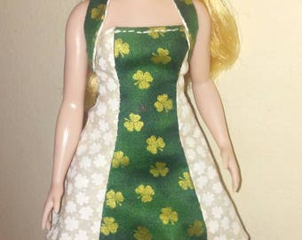 Curvy Barbie St. Patrick's Day dress and bolero vest.