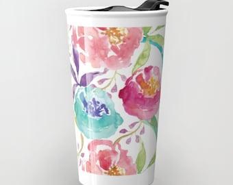 Floral Travel Mug - Flowers Travel Mug - Coffee Mug - Modern Floral Design Ceramic Travel Mug With Lid - Girlfriend Gift - Aldari Home