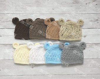 Baby boy hat, baby bear hat, newborn bear hat, baby boy hats, newborn photo prop, coming home outfit, baby boy clothes, newborn boy hat