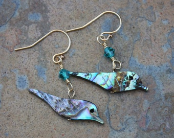 Shiny bird earrings - paua shell and turquoise crystals on 22k gold plated sterling silver earwires - aqua turquoise - free shipping USA