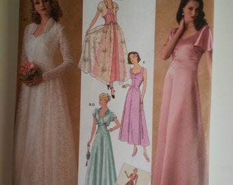 30s wedding dress / capelet / shrug / vintage style dress / 2006 sewing pattern, Bust 31 32 34 36 38, Size 8 10 12 14 16, Simplicity 4270