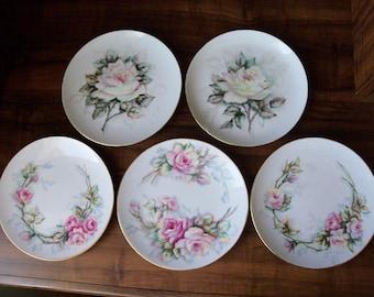 """5 Vintage porcelain dessert/salad 7.5""""plates. Germany(#EV115)"""