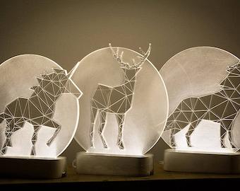 Full Moon lamp / Modern night light / deer night light / wolf night light / concrete full moon / bedside unicorn / lamp set / Full moon trio