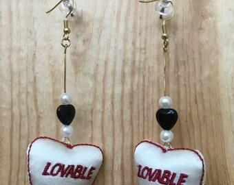Doll parts earrings- black heart