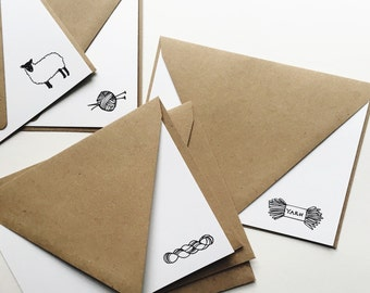 Knitting Notecards: Boxed Set of 8 (4 different designs)