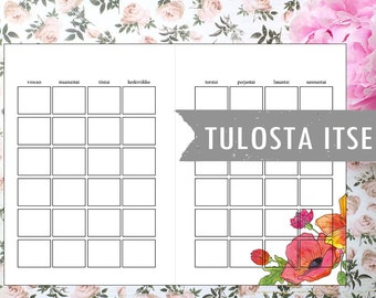 Tulosta itse floral monthly planner page (suomeksi)