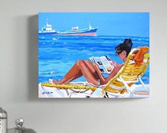 Beach Girl Art Print  8x10 11x14 or 12x16 Woman Beach Lounger, Miami, Caribbean, Sunbather Sun Sand Ocean Painting by Gwen Meyerson