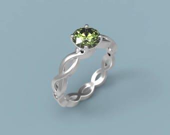 18k Peridot Engagement Ring White Gold Peridot Ring Peridot Diamonds White Gold Engagement Ring Peridot Halo Engagement Ring