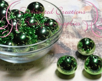20mm Lime Green Mirror Ball Beads Qty 10