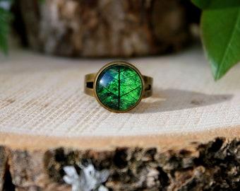 Leaf Ring | Green Leaf Ring | Green Leaf Jewelry | Antique Bronze Ring | Green Ring | Adjustable Ring