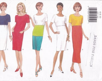 FREE US SHIP Butterick 4997 Sewing Pattern Retro 1990s 90's High Waist Empire Dress Size 6 8 10 Bust 30 31 32.5 Factory Folded