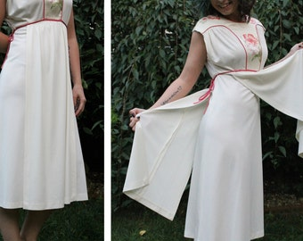 Vintage 70s LILY Lilies Printed Satin Bodice Cream Sleeveless Side Tie Grecian Drape Panel A-Line Midi Length DISCO Dress - S Small