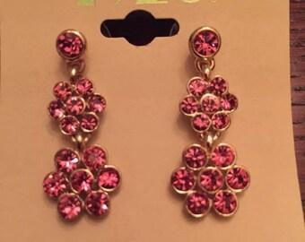 1928 Pink Flower Earrings