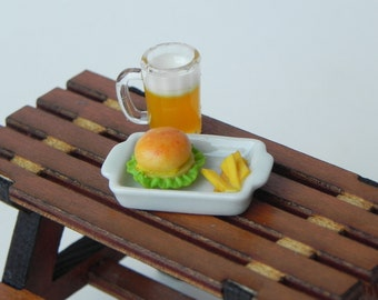 Miniature hamburger fries plate mug of beer, fairy garden miniatures, garden miniature food drink, fast food mini picnic, craft supplies