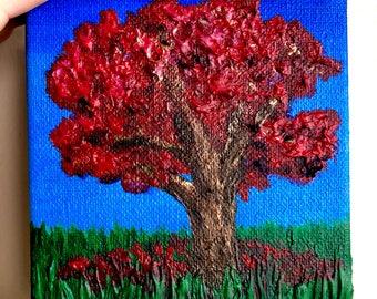 Original Maple-Leaf Oak Tree Fall Landscape Painting