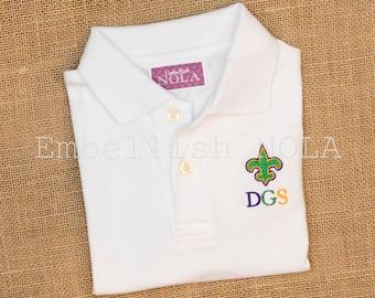 Mardi Gras Tri-Color Fleur-de-lis Embroidered Boys Collared Shirt Mardi Gras Shirt