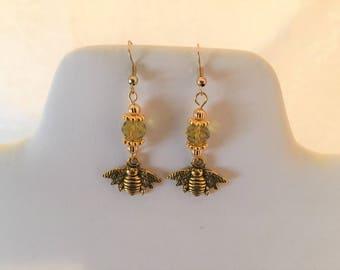 Gold Bee Crystal Pierced Earrings