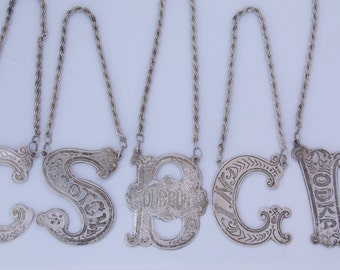 Antique sterling silver liquor decanter tags / barware tag set / sterling silver tag / gin / vodka / bourbon / scotch /  cognac / bar tags