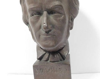 30% SPRING SALE Vintage 1970's 70s Richard Wagner Dark Brown Ceramic Head Famous Classical Music Composer Bust Statue Figurine 11""