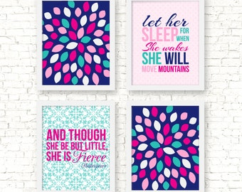 Girl nursery art hot pink and teal, nursery decor, baby girl art prints, let her sleep, she is fierce, nursery floral burst art, A-4029