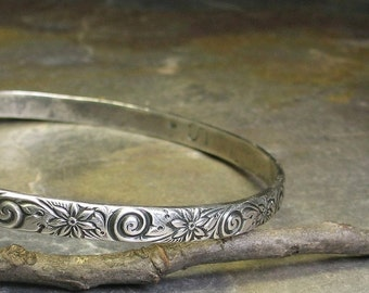Sterling Silver Patterned Bangle - Whisper of Spring