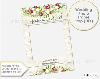 Wedding photo frame prop. Ivory and wine Wedding photo prop. DIY PDF Printable file. Custom Floral rustic wedding prop. for selfie station