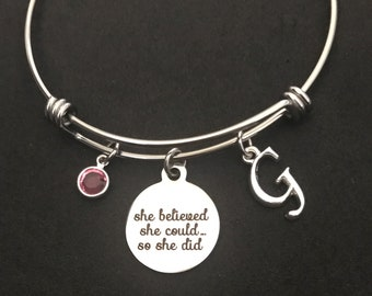Personalized She Believed She Could So She Did Bangle She Believed She Could So She Did Bracelet