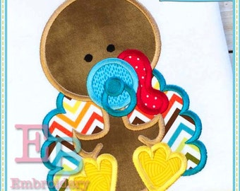 Baby Boy Turkey Applique - This design is to be used on an embroidery machine. Instant Download