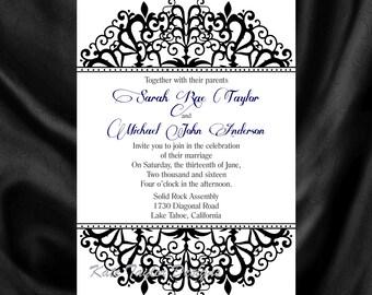 Victorian Wedding Invitation & RSVP  Vintage Wedding Invitation - Price Includes Matching Envelopes and Printed Return Address - Design 30