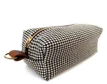 Medium Toiletry Bag - Vintage Houndstooth Suit with Waterproof Lining (add'l colors)