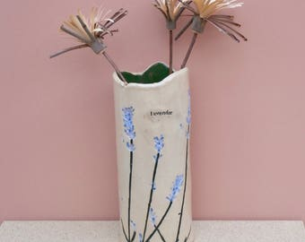 Lavender ceramic vase - Botanical tall vase - Greige stoneware vase with lavender flowers - Cottage chic vase - home decor