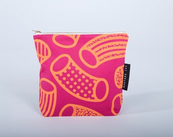 SMALL Screen Printed Handmade in England Wash Bag Zip Pouch Abstract Design Pink and Orange