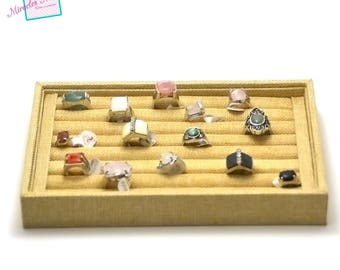 Display trays for ring 23 x 14, 5 x 3 cm, beige linen