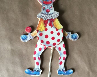 Mouse Clown Juggler Pull Toy Doll 1970s Made in Taiwan