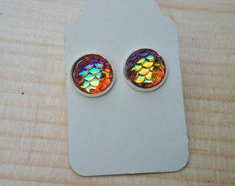 Mermaid Earrings, Mermaid Stud Earrings, Scale Earrings, Dragon Scale Earrings, Mermaid, Beach Earrings, Yellow, Pink, Gifts for her