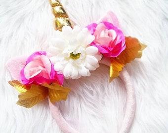 Pink & Gold Unicorn Flower Crown