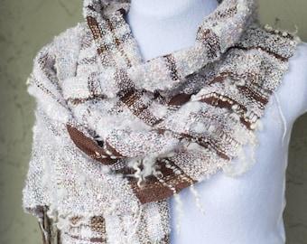 Handwoven Scarf, Wrap, Shawl, Oversized, Wool Locks, Freeform, Textured, Boucle