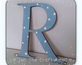 Blue Polkadot Wooden Wall Letters - Shabby Chic Style